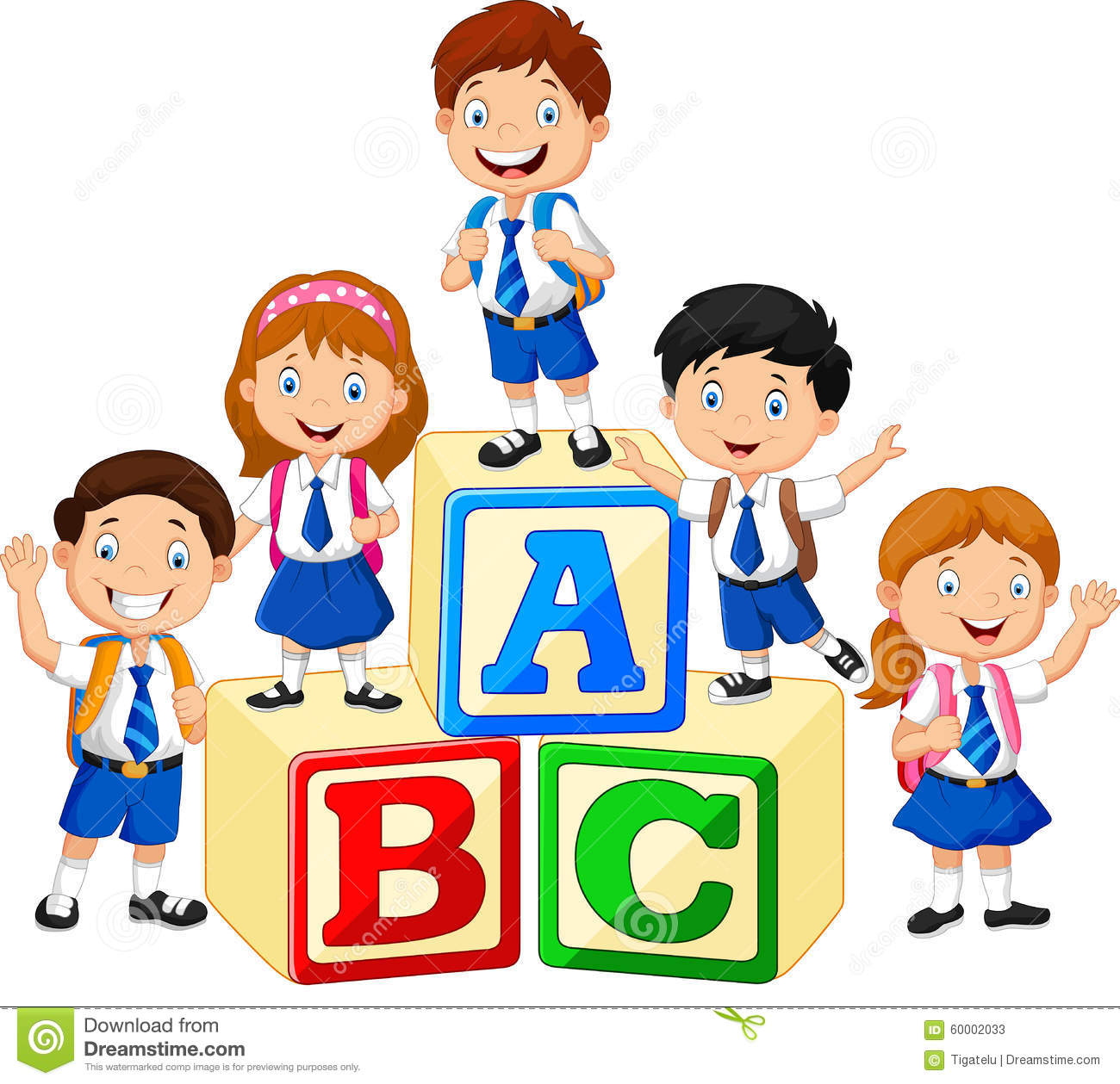 Alphabet clipart for kids. School children clipartfest happy