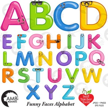 Alphabet clipart for teachers graphic freeuse library Funny Balloon Alphabet and Clipart, {Best Teacher Tools} AMB-2469 graphic freeuse library