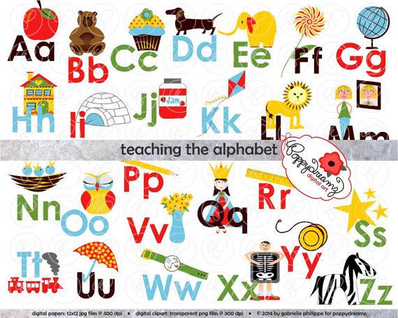 Alphabet clipart for teachers clipart transparent download Teaching the Alphabet Clipart & Digital Flashcards: Digital Image ... clipart transparent download
