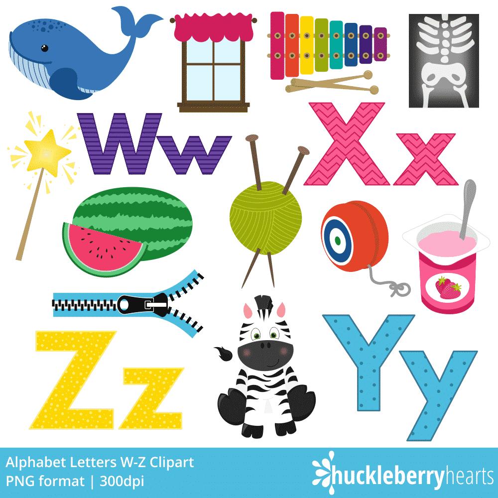Alphabet clipart for teachers clip art royalty free download Alphabet Letters W-Z Clipart clip art royalty free download