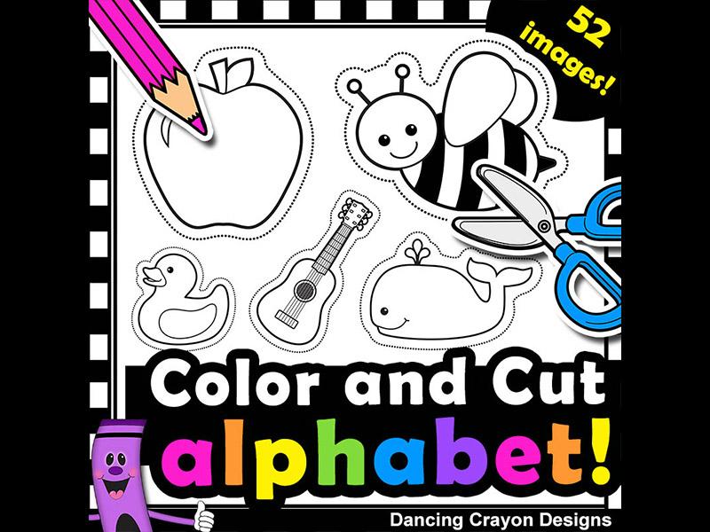 Alphabet clipart for teachers clipart library library Alphabet Clip Art with Cutting Lines   Clipart for Teachers clipart library library