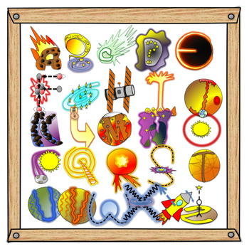 Alphabet clipart for teachers graphic stock Space Alphabet Clipart A-Z graphic stock