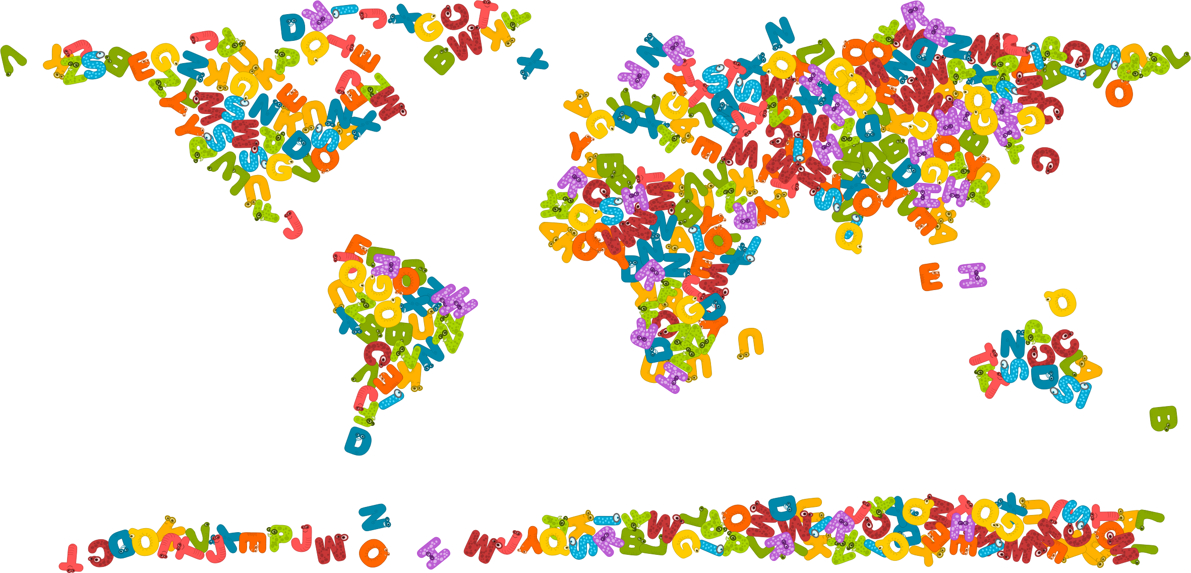 Clipart - Animals Alphabet World Map graphic library download