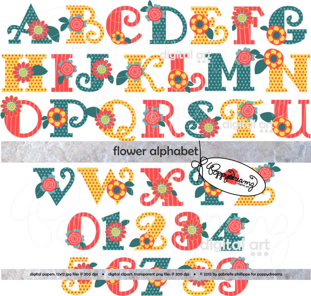 Flower Alphabet: Clip Art Pack 300 dpi transparent png Card banner black and white stock