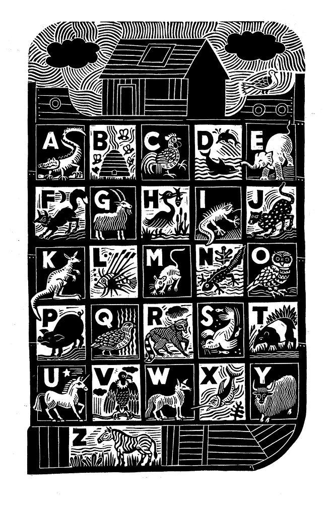 Alphabet clipart wood block printing vector Hugh Ribbans | I Love Alphabets in 2019 | Woodcut art, Linoleum ... vector