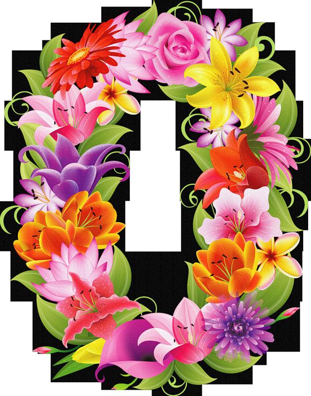 Alphabet flower clipart jpg black and white library цифры -цветы (1).png | Milestone pictures, Birthday numbers and Clip art jpg black and white library