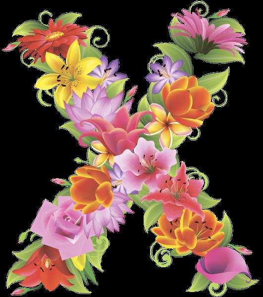 Alphabet flower clipart image black and white stock английский алфавит, буква x, цветочный алфавит, цветы, english ... image black and white stock