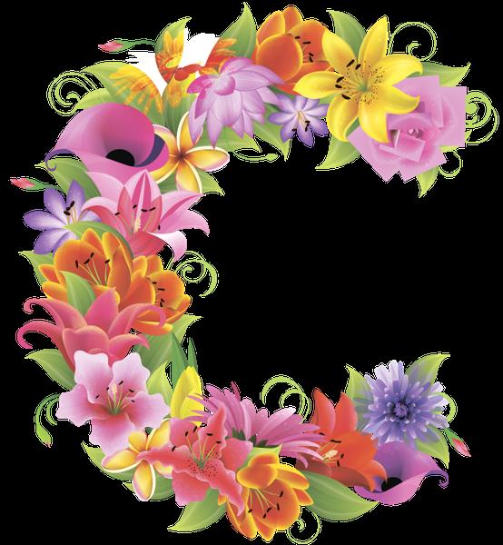 Alphabet flower clipart vector black and white stock английский алфавит, буква c, цветочный алфавит, цветы, english ... vector black and white stock