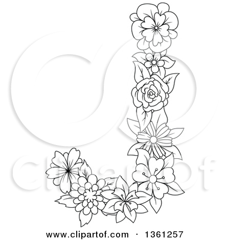 Alphabet flower clipart letter j clipart freeuse Clipart of a Black and White Floral Capital Letter J with a Flower ... clipart freeuse