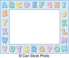 Alphabet frame clipart clip freeuse download Vector Illustration of Alphabet Frame, Baby Blue Pastel - Alphabet ... clip freeuse download