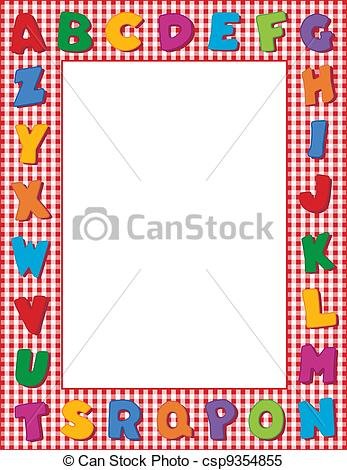 Alphabet frame clipart svg transparent library Clipart Vector of Gingham Alphabet Frame - Multicolor alphabet on ... svg transparent library