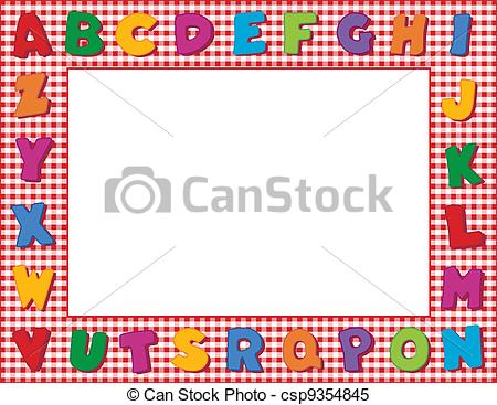 Alphabet frame clipart image black and white stock Clip Art Vector of Gingham Alphabet Frame - Multicolor alphabet on ... image black and white stock