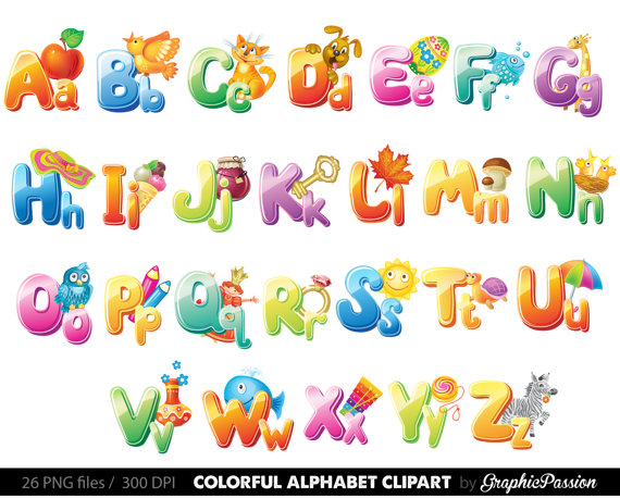 Illustrated Alphabet clipart color alphabet Digital alphabet image free download