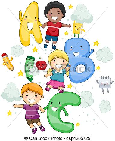 Alphabet kids clipart. Abc and stock illustrations