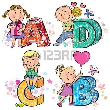stock illustrations cliparts. Alphabet kids clipart