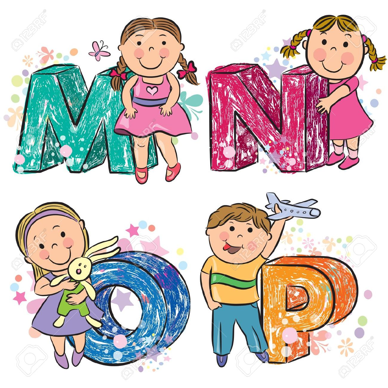Alphabet kids clipart. Funny with mnop royalty