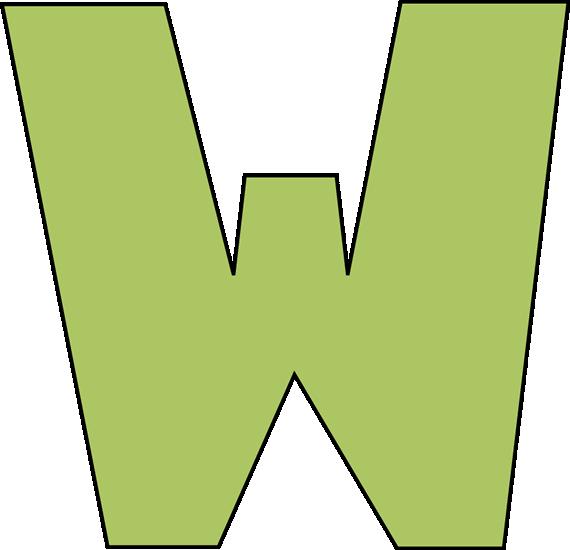 Green w image. Alphabet letter clip art