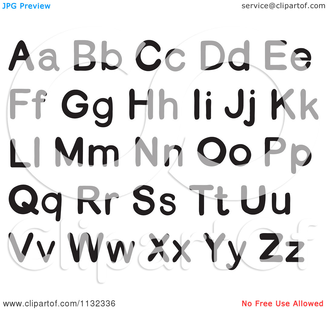 Cartoon Of Black And White Alphabet Letters - Royalty Free Vector ... graphic transparent stock