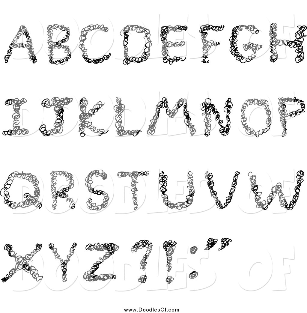 Vector Clipart of a Black Scribbled Capital Alphabet Letters by ... jpg black and white stock