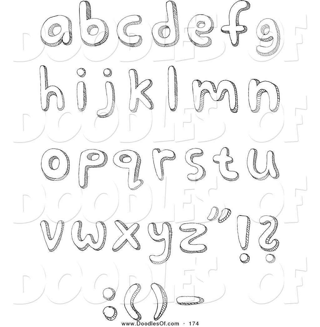 Vector Clipart of a Digital Collage of Lowercase Sketched Alphabet ... vector transparent download
