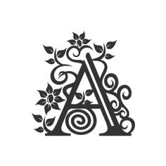 Graphic Design of Flower Clipart - White Alphabet A with Black ... vector free library