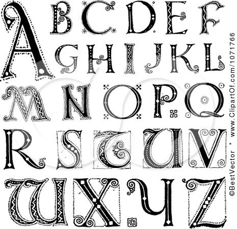 Clipart Black And White Capital Vintage Styled Alphabet Letters ... library