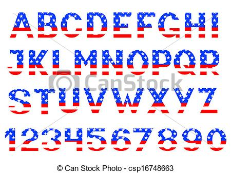 Alphabet letter clipart flags clip transparent stock Clip Art Vector of Alphabet of American flag - Letters and numbers ... clip transparent stock