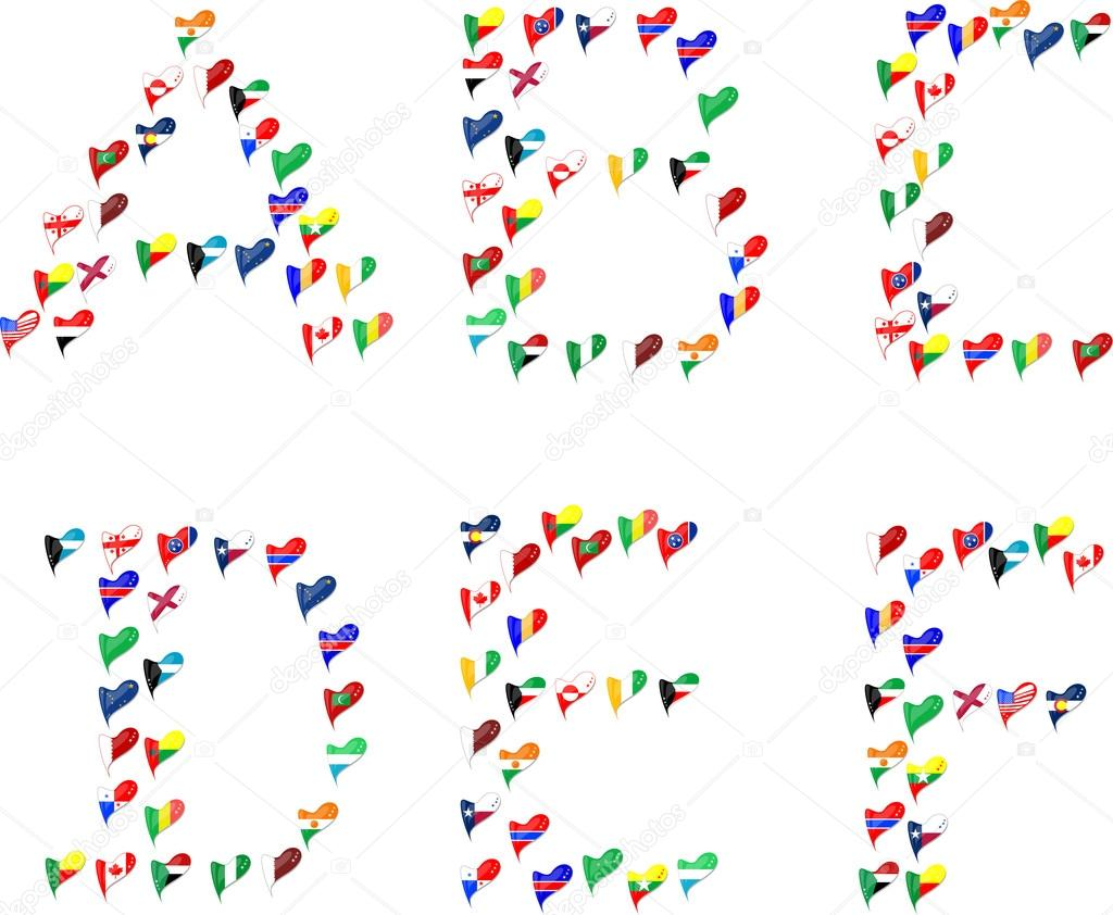 Alphabet letter clipart flags picture transparent library Alphabet letters made of flags in heart — Stock Vector © fotoscool ... picture transparent library