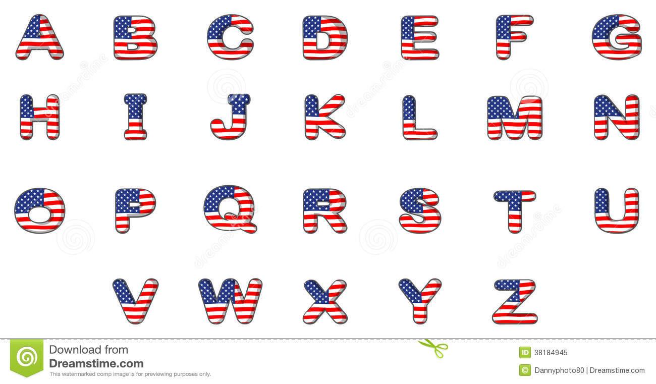 Alphabet letter clipart flags graphic freeuse download Letters Of The Alphabet With The American Flag Royalty Free Stock ... graphic freeuse download
