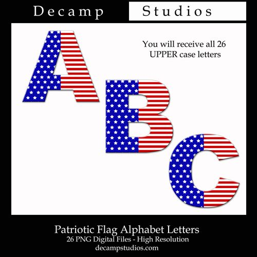 Alphabet letter clipart flags clipart library library FREE American Flag Alphabet Letters Digital Printable Clipart ... clipart library library
