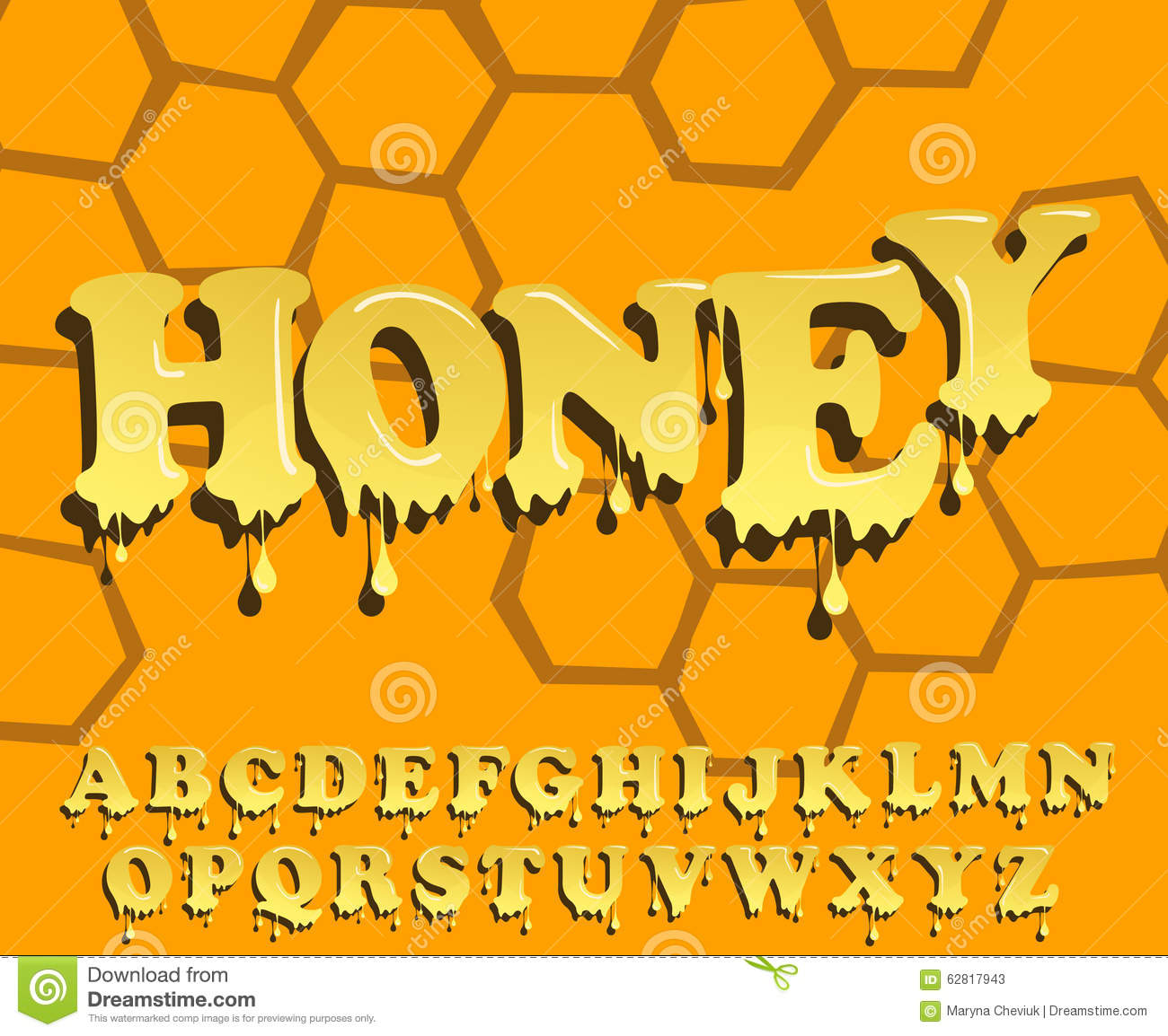 Yellow Honey Jelly Alphabet. Glossy Letters Stock Vector - Image ... vector freeuse stock