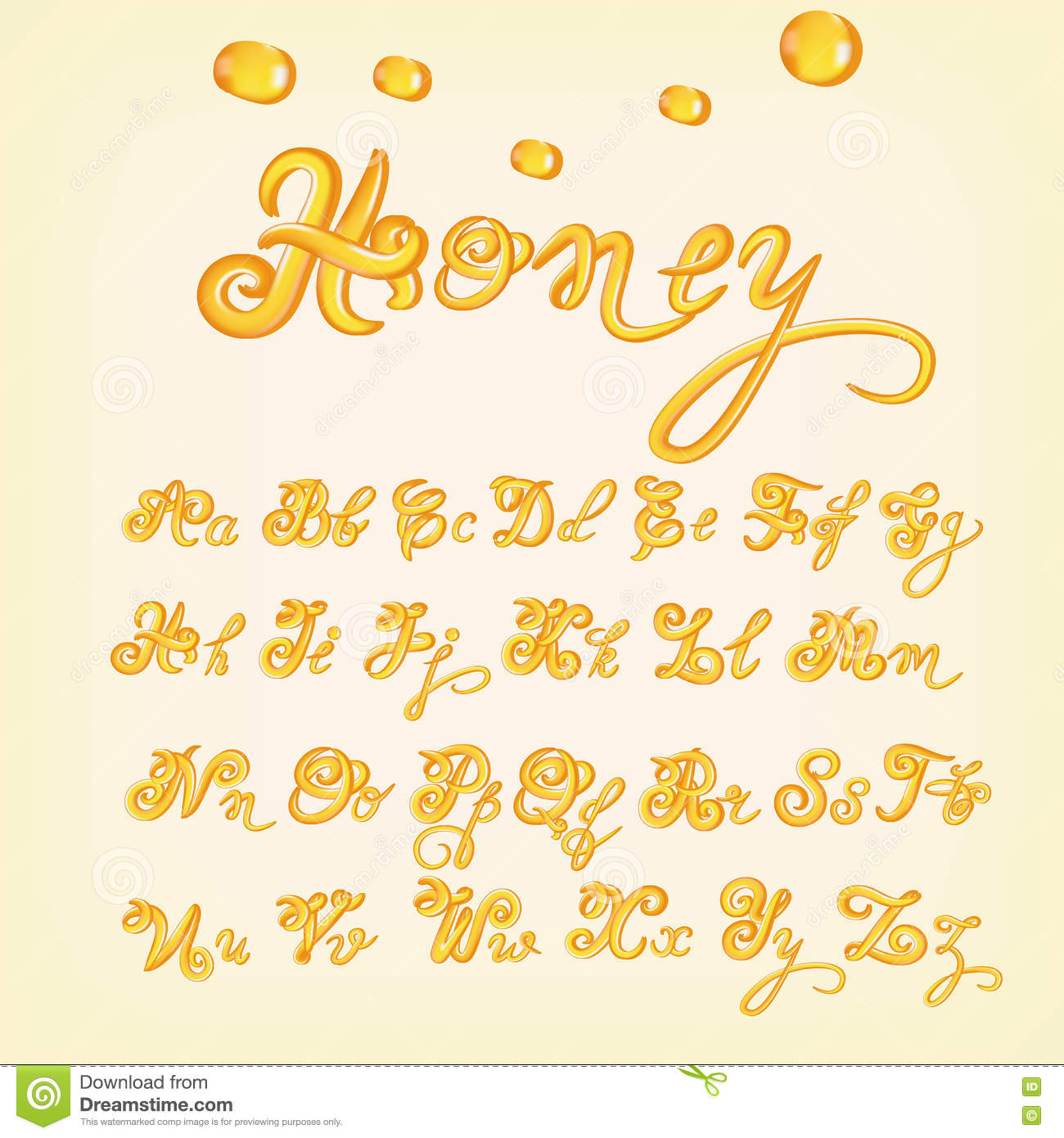 Yellow Honey Jelly Alphabet. Glossy Letters Stock Vector - Image ... clip free