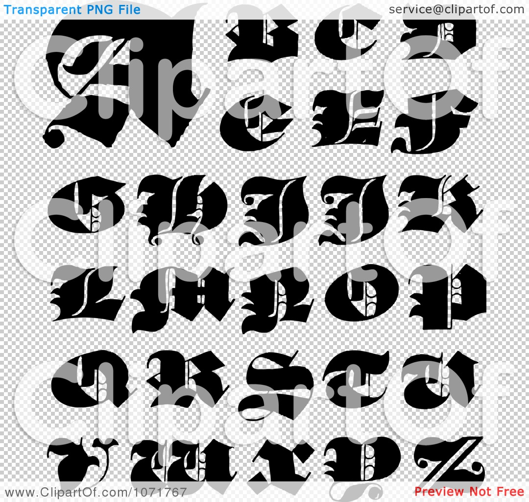 Alphabet letters clip art black and white picture royalty free Clipart Black And White Capital Vintage Styled Calligraphy ... picture royalty free