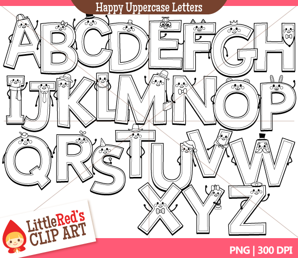Uppercase happy little red. Alphabet letters clip art black and white