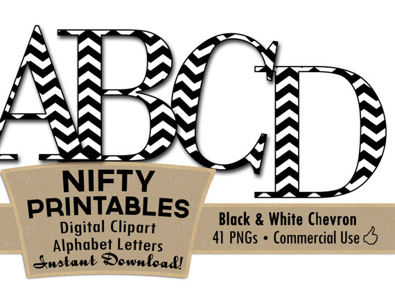 Alphabet letters clip art black and white graphic transparent stock Items similar to Black White Chevron Clip Art Alphabet Letters ... graphic transparent stock