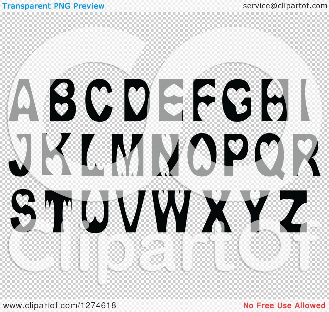 Alphabet letters clip art black and white clipart download Clipart of Black and White Capital Alphabet Letters with Heart ... clipart download