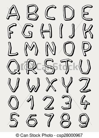 Alphabet letters clip art black and white. Vector of irregular complete