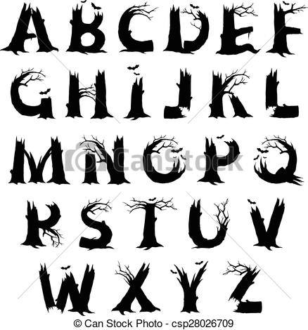 Alphabet letters clip art black and white. Vector clipart of halloween