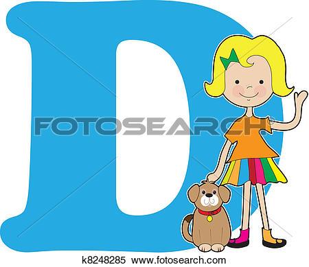 Alphabet letters clip art d. Of with dog cartoon