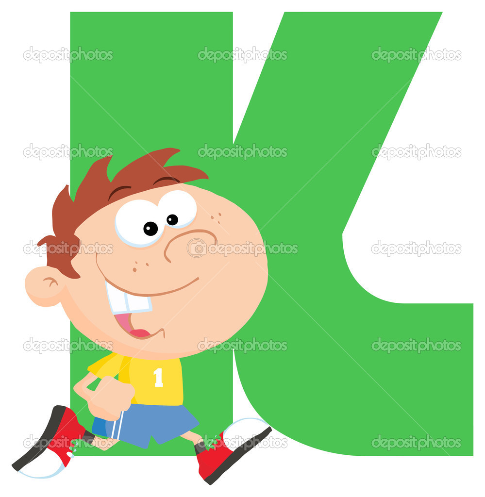 Alphabet letters clip art k banner free stock Letter K with cartoon kid — Stock Vector © HitToon #61075147 banner free stock