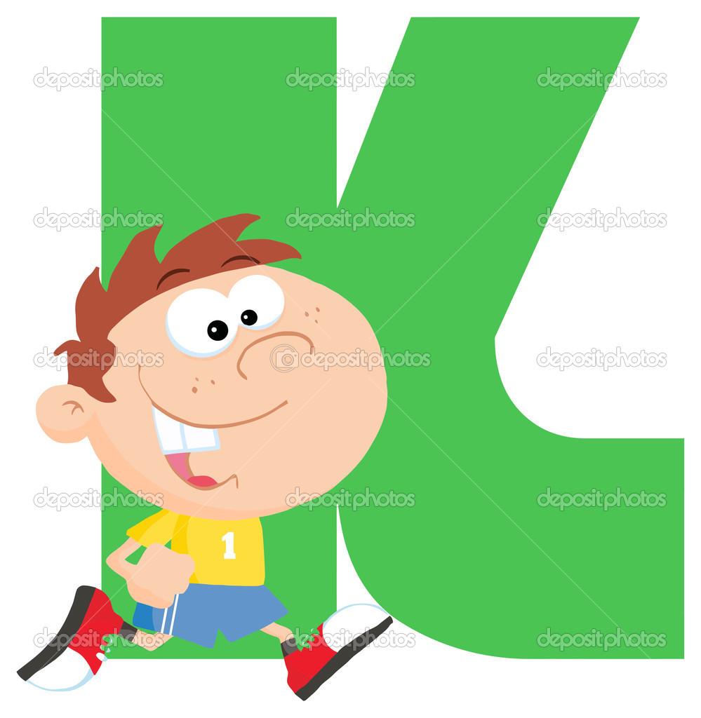 Letter K with cartoon kid — Stock Vector © HitToon #61075147 banner free stock