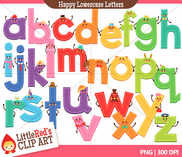 Alphabet lowercase clipart picture library Lowercase Happy Letters Alphabet Clip Art | Little Red's Treehouse picture library