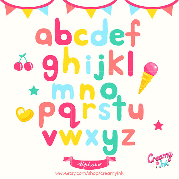 Alphabet lowercase clipart clip royalty free library Alphabet Digital Vector Clip art / Alphabets Digital Clipart clip royalty free library