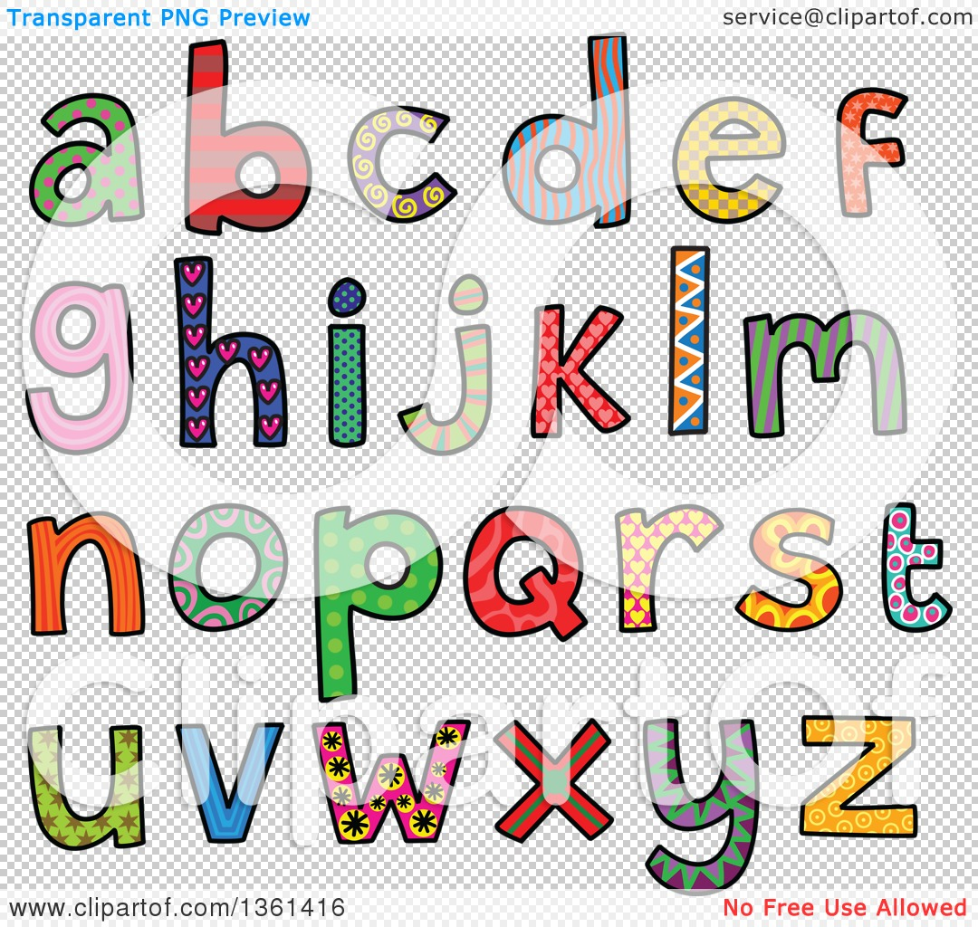 Alphabet lowercase clipart clipart free download Clipart of Colorful Sketched Lowercase Alphabet Letter Word Art ... clipart free download
