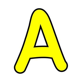 Alphabet outline clipart svg royalty free download Bulletin Board Letters Simple Alphabet Clipart - Yellow with Black Outline svg royalty free download