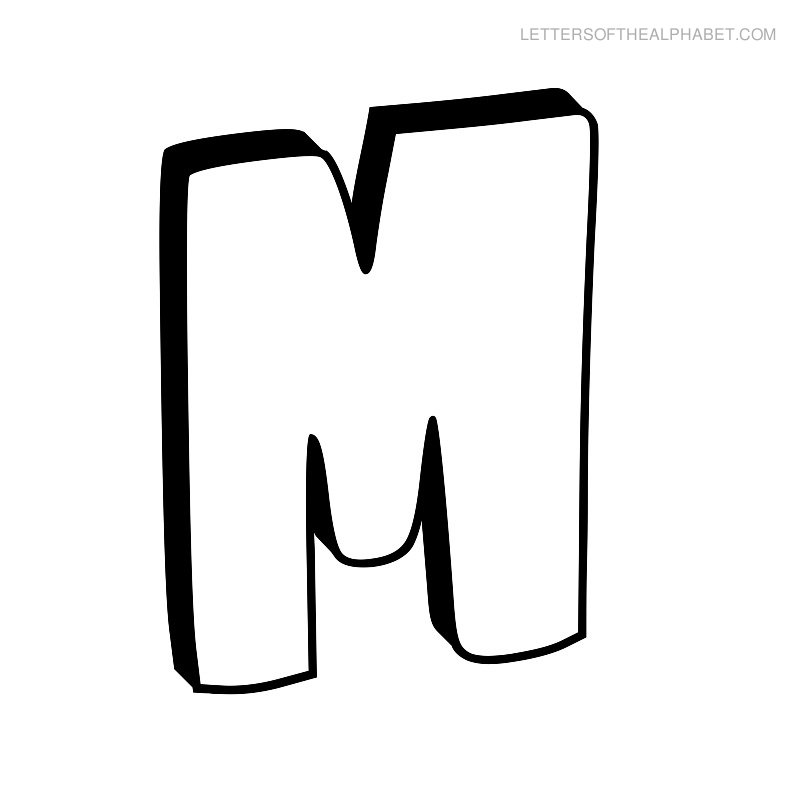M outline download best. Free flower bubble y letter clipart black and white