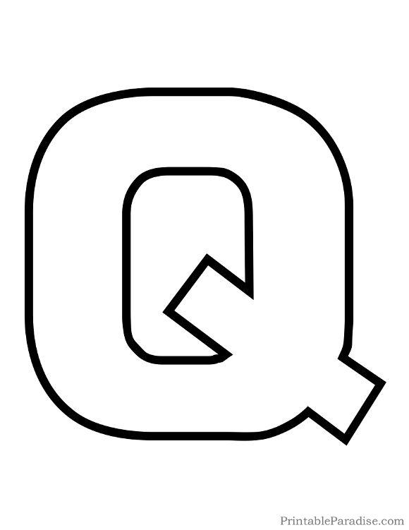 Alphabet outline letter clipart clip royalty free stock Printable Letter Q Outline - Print Bubble Letter Q | Kindergarten ... clip royalty free stock