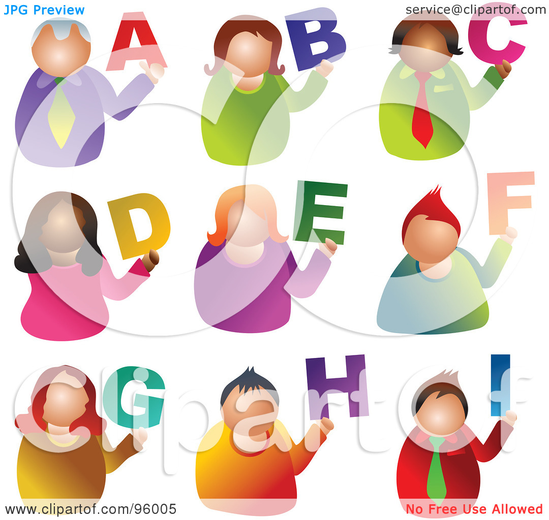 Alphabet people clipart. Royalty free rf illustration