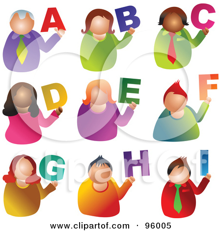 Colorful letters with eyes. Alphabet people clipart