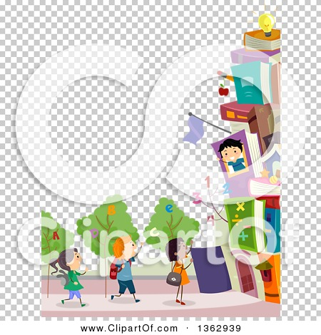Clipart of a Border of School Children with a Book Building and ... graphic freeuse